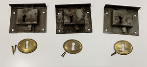 3 Matching Vintage Dresser Drawer Locks Key Plates Salvaged