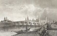 Moscou Russie Москва Moskva vue du pont de Pierre gravure 1838