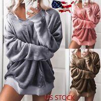 Womens Hooded Soft Velvet Jumper Pullover Hoodie Sweatshirt Oversize Coat Jacket