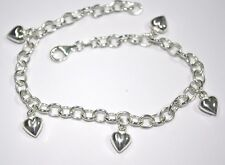 Sterling Silver 925 Chain with HEART CHARMS ANKLET - Custom made to your size