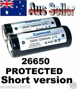 2 X PROTECTED 26650 Keeppower 5200 mAh rechargeable Lithium ion batteries PCM