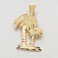 NEW 14K Gold  Double Tropical Palm Tree Diamond Cut Charm Pendant 1.6gr