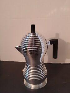 ALESSI PULCINA Stovetop Espresso Maker Pot Michele de Lucchi Black htf 1 cup