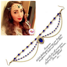 Hijab Pin Wedding Bridal Tikka Hair Bracelet jewellery Headpiece gold royal blue