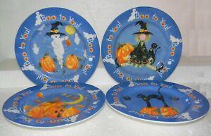 SAKURA Halloween Party Salad Plate Set of 4 Ghost, Pumpkin, Witch, Black Cat