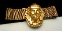 Rare Vintage Signed Miriam Haskell Larry Vrba Egyptian Revival Mesh Bracelet A20