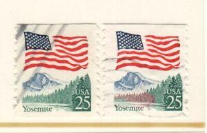 US EFO Scott #2280 25c Flag over Yosemite w/major ink shift used!!