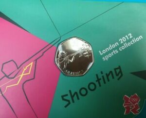 OLYMPIC SHOOTING 50p coin Royal Mint carded