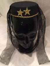 GENIE HARAM GIRL COSTUME HAT-BLACK WITH GOLD TRIM AND GOLD GLITTER STARS-NIP