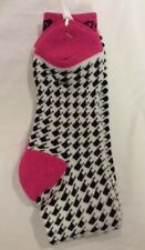 ROXY LONG KNEE HIGH OVER CALF SOCKS BLACK, WHITE & PINK Hosiery sock size 9 - 11