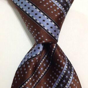 BRIONI Men's 100% Silk XL Necktie ITALY Luxury STRIPED Brown/Blue/Silver EUC