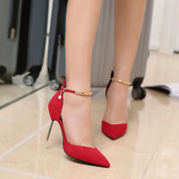 Women's Ankle Strap Stiletto High Heels Pointed Toe Pumps Fashion Buckle Shoes