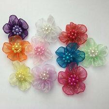 Organza Ribbon Flowers Bows w/Beads Appliques Wedding Craft