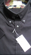 SOLID CLOTHING OUTSIZE 4XL TWO FOLD COTTON SHORT SLEEVED BLACK BUTTONDOWN  SHIRT