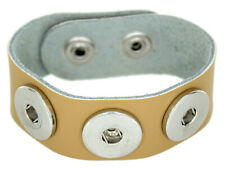 Chunk Leder Armband hell beige 3 Druckknöpfe Click Button Kette Ring SnapWechsel
