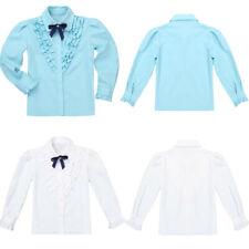 Girls School Blouse Shirt Tops Uniform Kids Long Sleeve Bow Collared School Tops