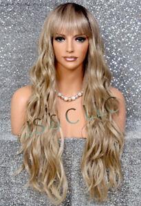 Human Hair Blend Full Wig Heat OK Long Semi Wavy Blonde Mixed Layered Bangs JBEL