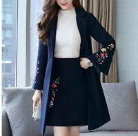 Womens Clothing Lapel Wool Blend Embroidered Jacket Coat Floral Flare Sleeves P1