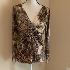 Cache Shirt Top Size M Medium Long Sleeve Brown Patterned