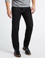 """NEW MARKS & SPENCER M&S TAPERED STAY FRESH BLACK JEANS W 30"""" 42"""" 44"""" LEG S R L"""
