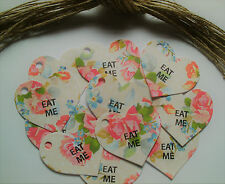 Eat Me Pink Roses Heart Gift Tags Labels Vintage Style Afternoon Tea Party x 25