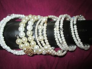 OOAK Handcrafted LOT 5 Faux Pearl Wrap Bracelets NEW One Size Fits All