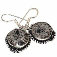 "Handmade Stingray Coral Jasper 925 Sterling Silver 1.5"" Earrings #E00294"