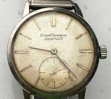 Vintage Unique Dial Steel Girard Perregaux Sea Hawk 17j Swiss Watch - Working!