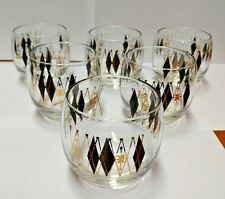vtg Federal Harlequin Black and Gold Diamond Roly Poly Set 6 glasses VGUC #95103