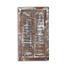 Wandspiegel 70x40cm Fensterladen + Ablage Shabby braun Holz Spiegel Antik look
