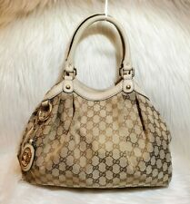 GUCCI SUKEY CANVAS MEDIUM GG ECRU LOGO PRINT TOTE 100% AUTHENTIC