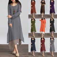 ZANZEA 8-24 Women Long Sleeve Kaftan Abaya Flare Swing Long Sleeve Maxi Dress