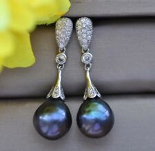 Z10061 13mm Peacock-Black Drop Keshi Edison Pearl Dangle Earring CZ