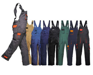 Portwest Texo Contrast Painters Work Wear Bib and Brace Overall Coverall TX12