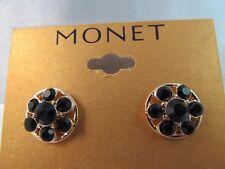 NWT MONET GOLD & BLACK RHINESTONE FLOWER DESIGN EARRINGS, Lovely
