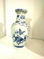 Vintage Asian Blue & White Vase with Bird and Floral Design