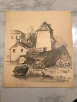 ANTIQUE 19THC  VILLAGE DRAWING  1851 MYSTERY ARTIST ?