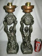 ANTIQUE USA ART NOUVEAU WOMAN LADY TORCH ART STATUE SCULPTURE LAMP SCONCE SHADE