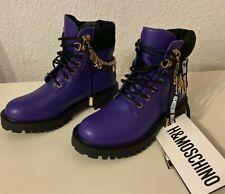 Moschino H&M Boots Stiefeletten Stiefel mit Logo-Ketten Größe 36 size US 5,5 NEW