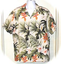 Vintage RJC Ltd Hawaiian Beige Tropical Palm Orchid Shirt XL Made in Hawaii
