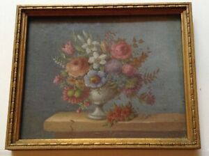 Beautiful Miniature French Gouache Painting Bouquet of Flowers manner 18thC