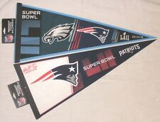 Lot of 2 Different Philadelphia Eagles / N. E. Patriots Super Bowl LII Pennants