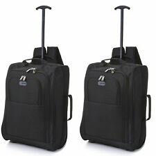 Twin Set Fits 56x45x25 Easyjet Trolley Cabin Approved 2wheeled Hand Hold Luggage Black (backpack Style)