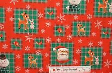 Rudolph and Friends Red Nosed Reindeer Christmas Cotton Fabric   BTY   (B3) >