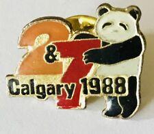 Panda Bear 2&7 Calgary 1988 Winter Olympics Pin Badge Vintage (E11)