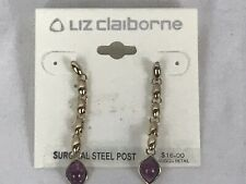 gem drop earrings Liz Claiborne gold purple