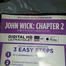 John Wick Chapter 2 (2017, Digital HD) No Blu-ray or dvd only Digital