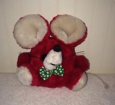 """Vintage Cholly Red Mouse Plush Russ Berrie Green Polka Dot Bow String Tail 6"""""""
