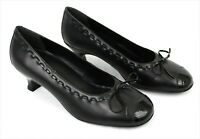Hotter Womens Round Toe Black Leather Bow Kitten Heel Comfort Court Shoes UK 5.5