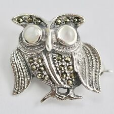ART DECO INSPIRED SMALL OWL BROOCH MOTHER OF PEARL EYES 925 STERLING SILVER
